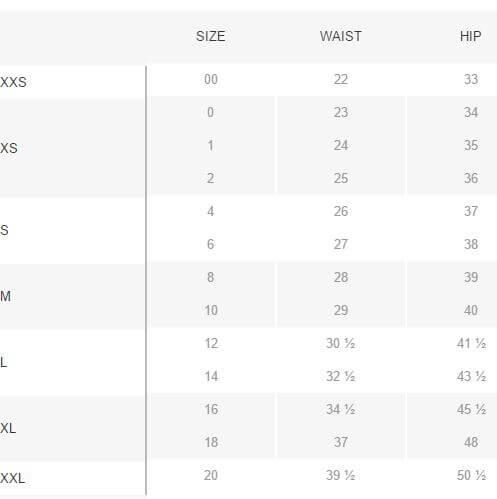 Womens PJ Shorts Pattern XXS-XXL size chart