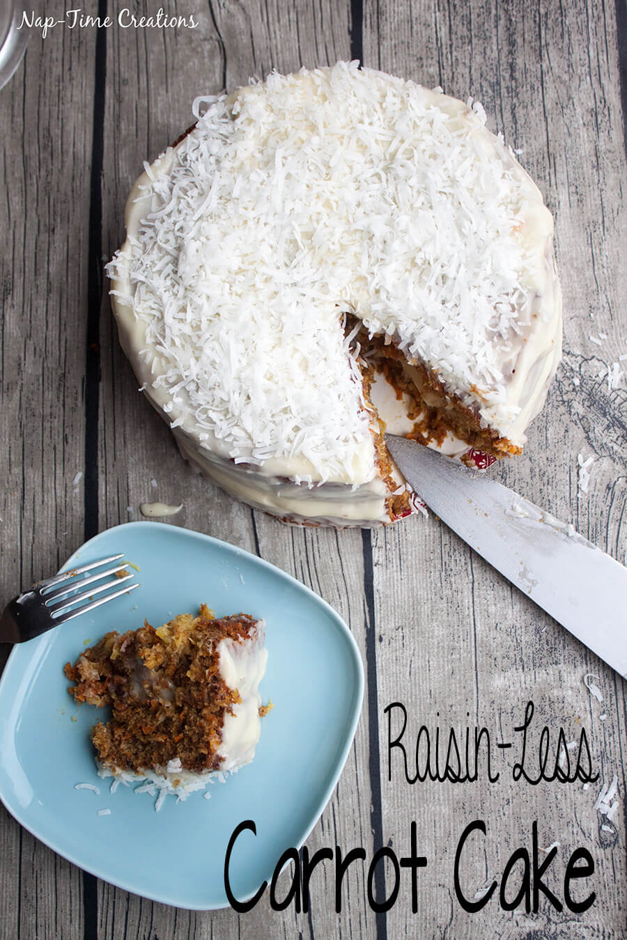 raisin-less Carrot Cake Recipe with Cream Cheese Frosting from Nap-Time Creations Delicious Carrot Cake without raisins