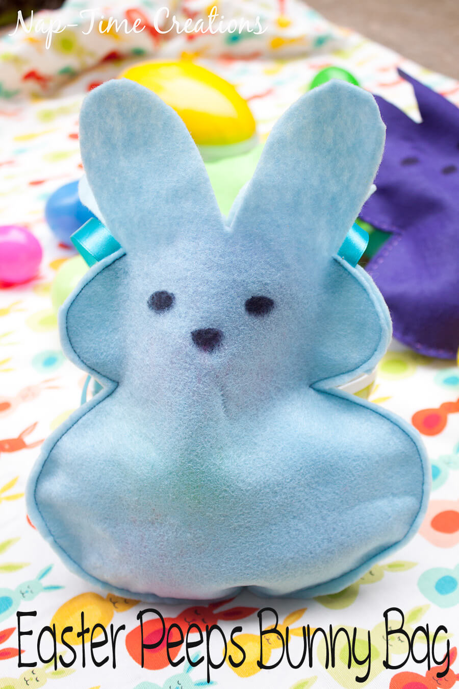 Easter Peeps Bunny Bags felt treat bags with free template from Life Sew Savory