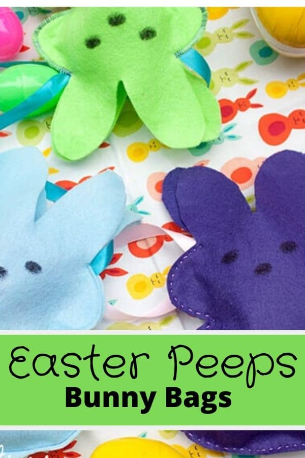 Felt Easter Peeps bunny bags sewing tutorial and free template from life sew savory