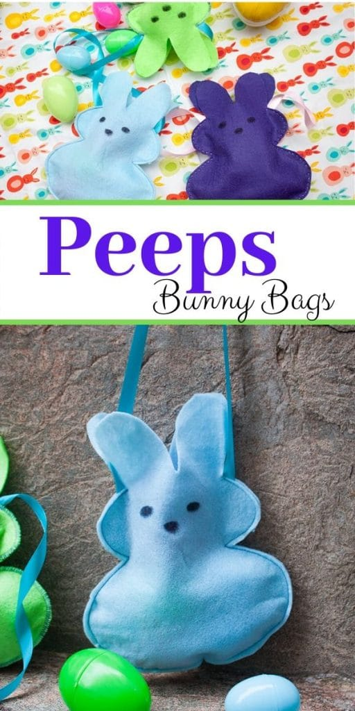 Felt Bunny bags for Easter. Peep shaped bunny bags with free template from life sew savory