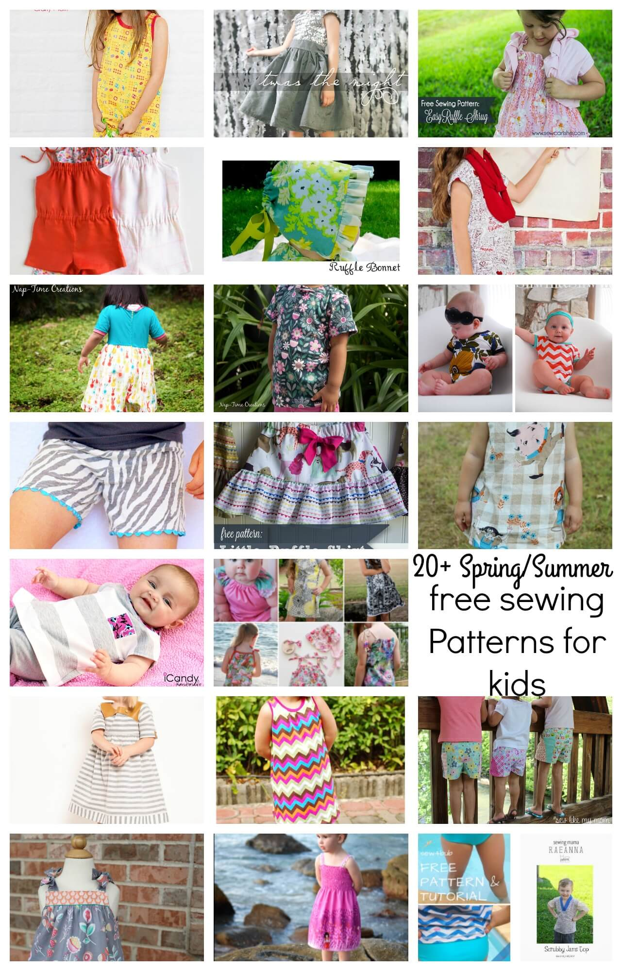 Spring Summer free sewing patterns for kids 2016