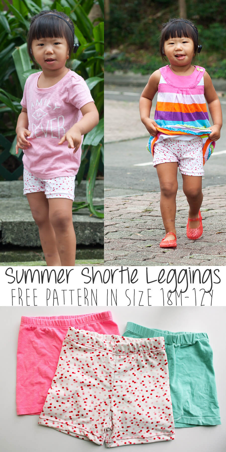 Shortie Leggings Free Pattern perfect for summer size 18M-12Y from Nap-Time Creations