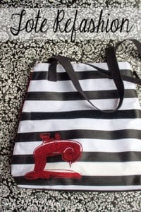 refashioned tote with vinyl from Nap-Time Creations with iron on vinyl