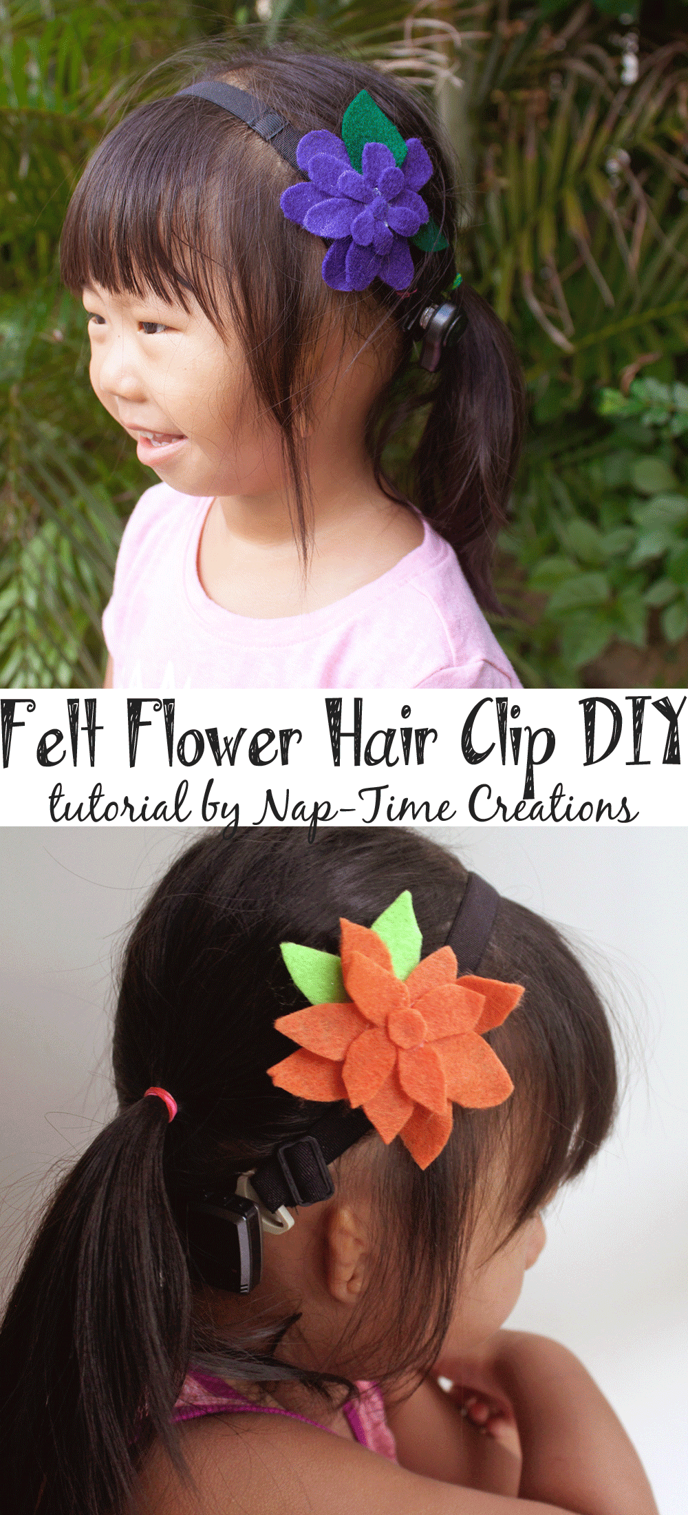 felt-flower-hair-clip-DIY by Nap-Time Creations