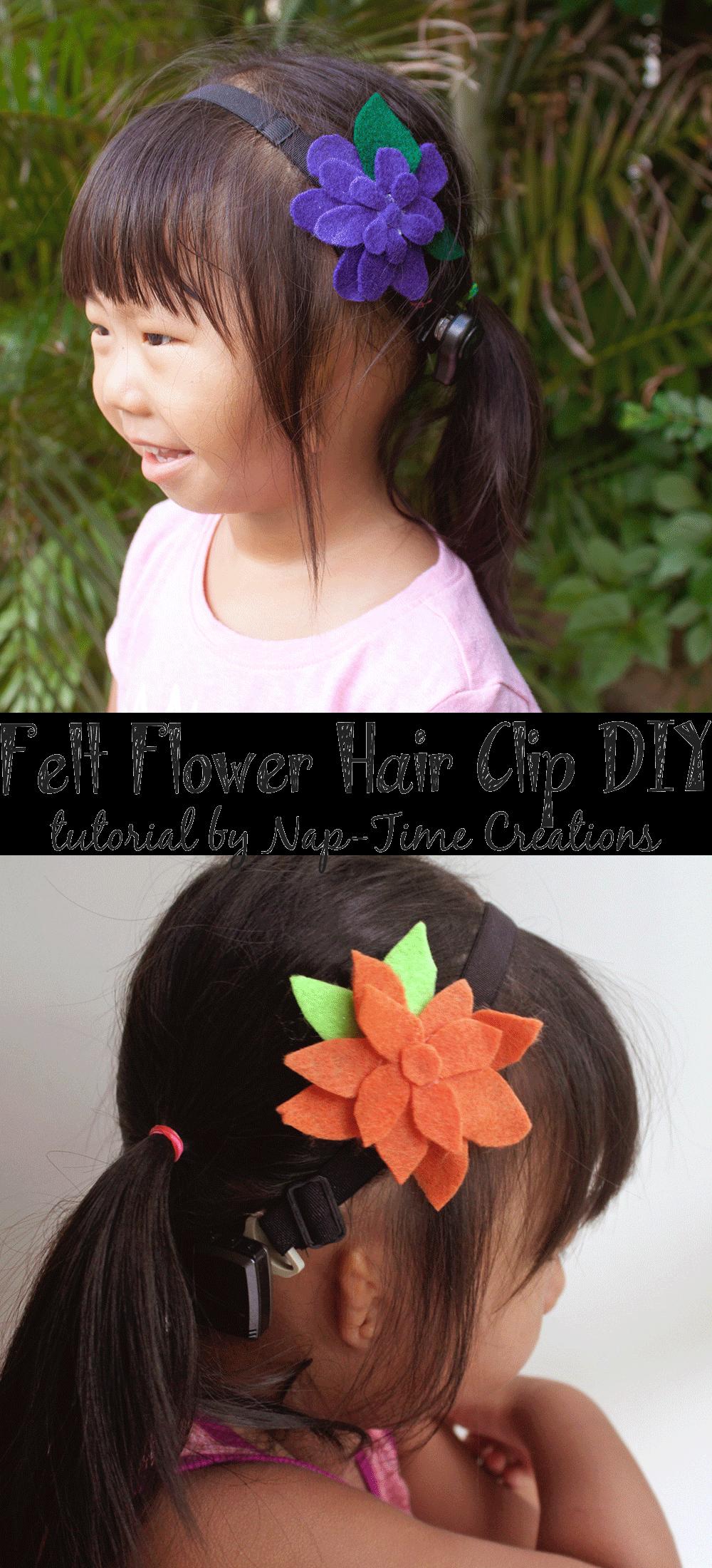 felt-flower-hair-clip-DIY by Nap-Time Creations