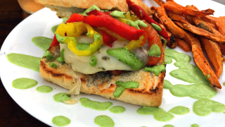 Pepper Chicken Burger with Sweet Potato Fries and garlic/basil aoli sauce