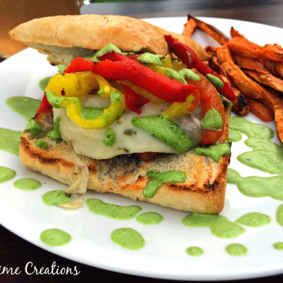 Pepper Chicken Burger with Sweet Potato Fries