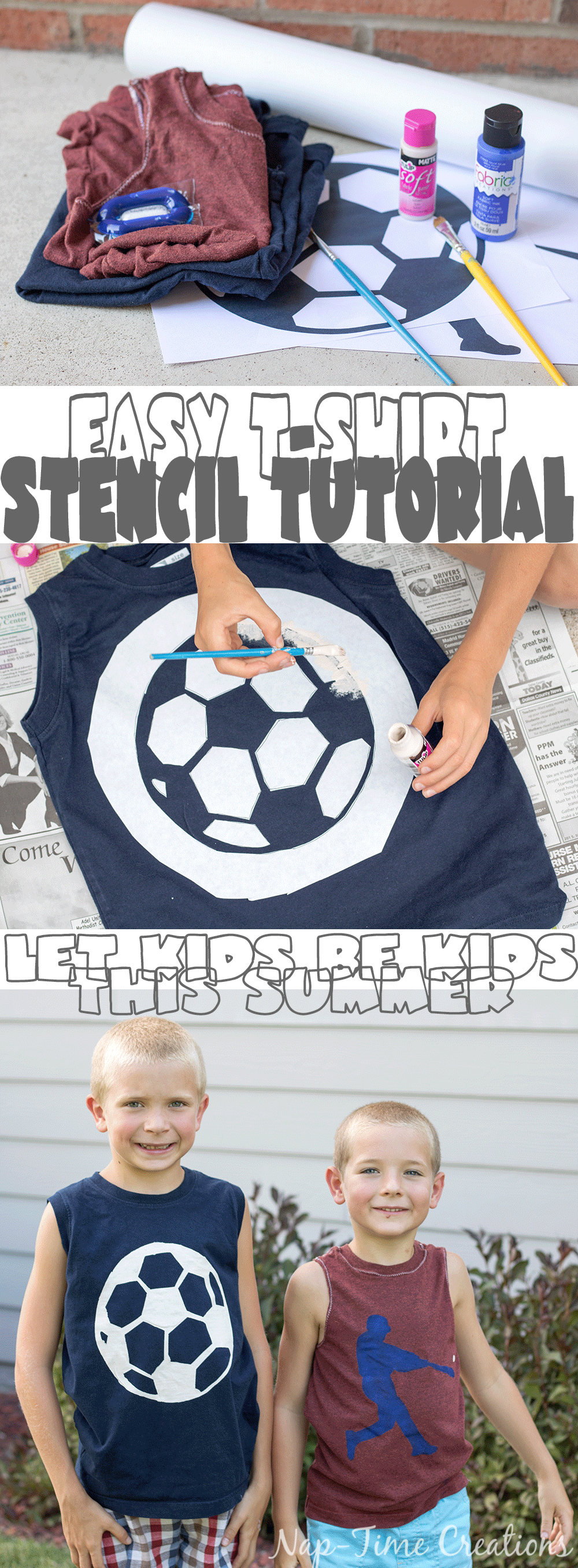 Easy T-shirt Stencil Tutorial fun kids summer craft from Nap-Time-Creations #Clean2TheCore ad
