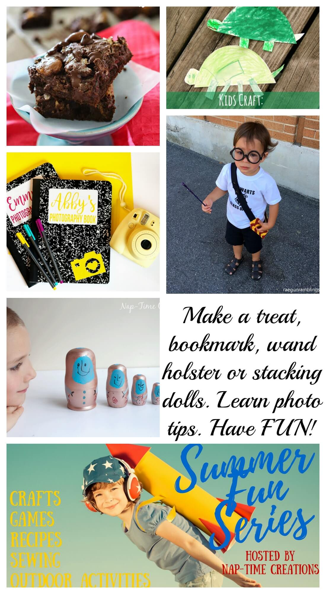Summer Fun #6 Make a treat, bookmark, wand holster or stacking dolls. Learn kids photography tips all on Nap-Time Creations