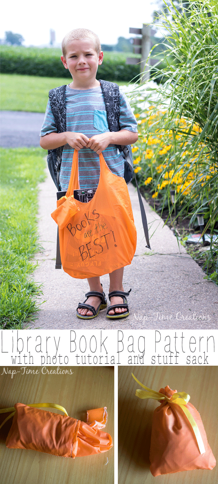 library- book bag free pattern tutorial -from-Nap-Time-Creations