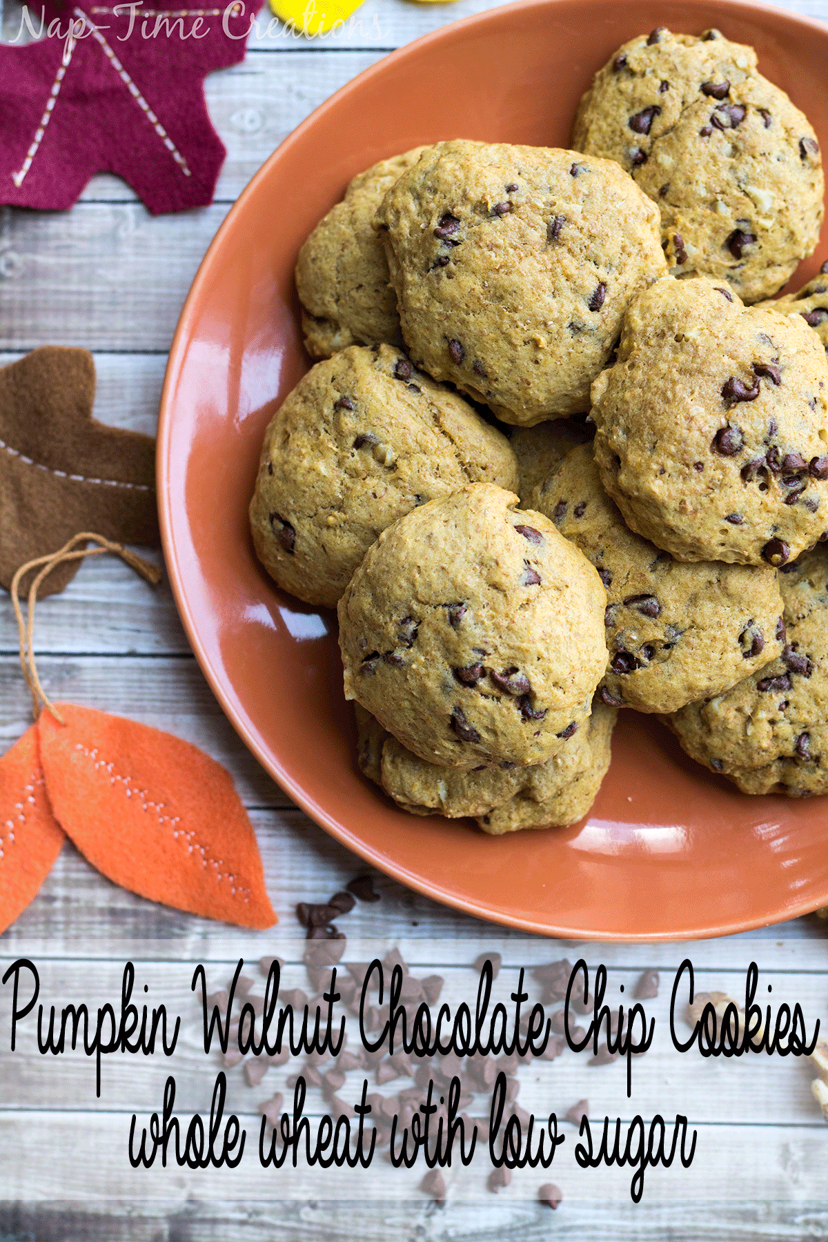 Whole Wheat Pumpkin Walnut Cookies -with-low-sugar-from-Nap-Time-Creations