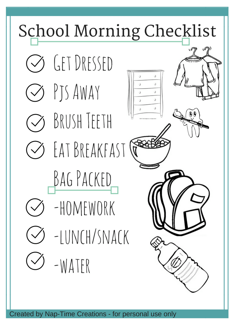 School Morning Checklist 1