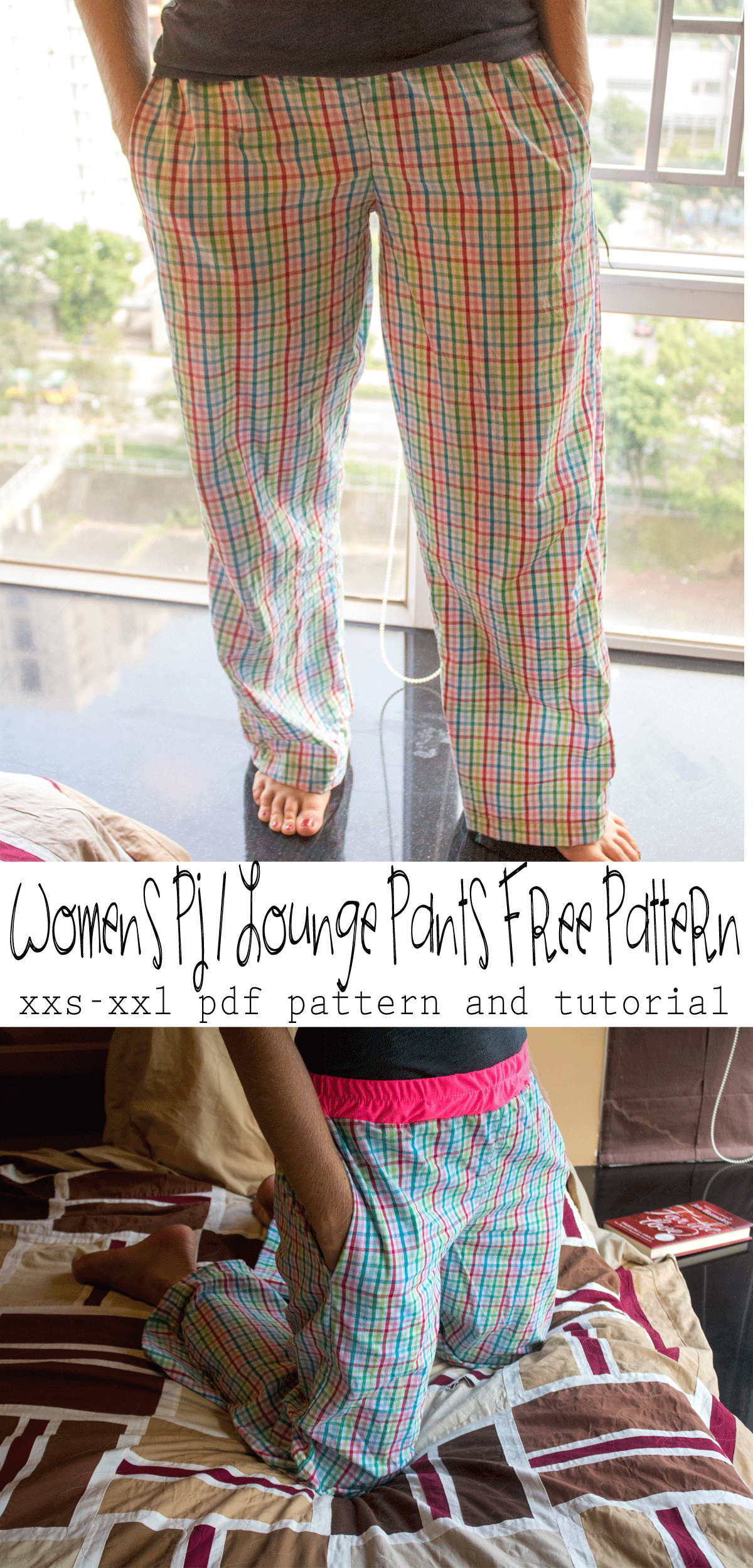 pj lounge pants free pattern xxs-xxl from Life Sew Savory printable pattern and tutorial