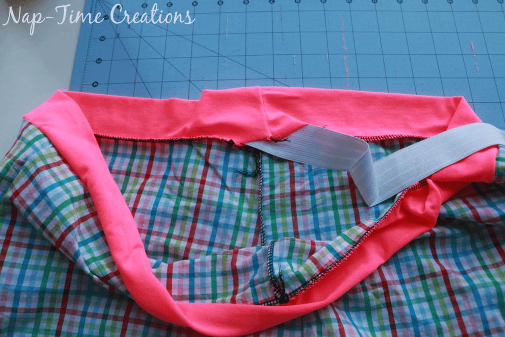 thread elastic through the waistband
