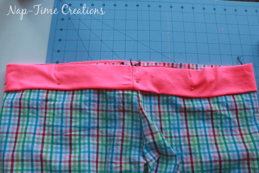 pin waistband to shorts top