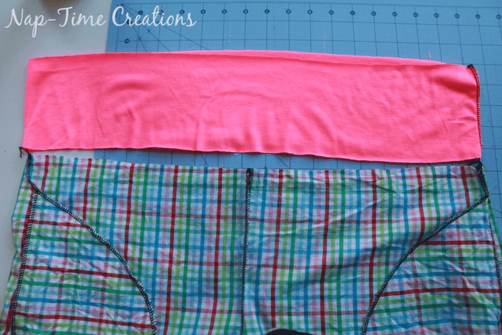 lay waistband at top of shorts