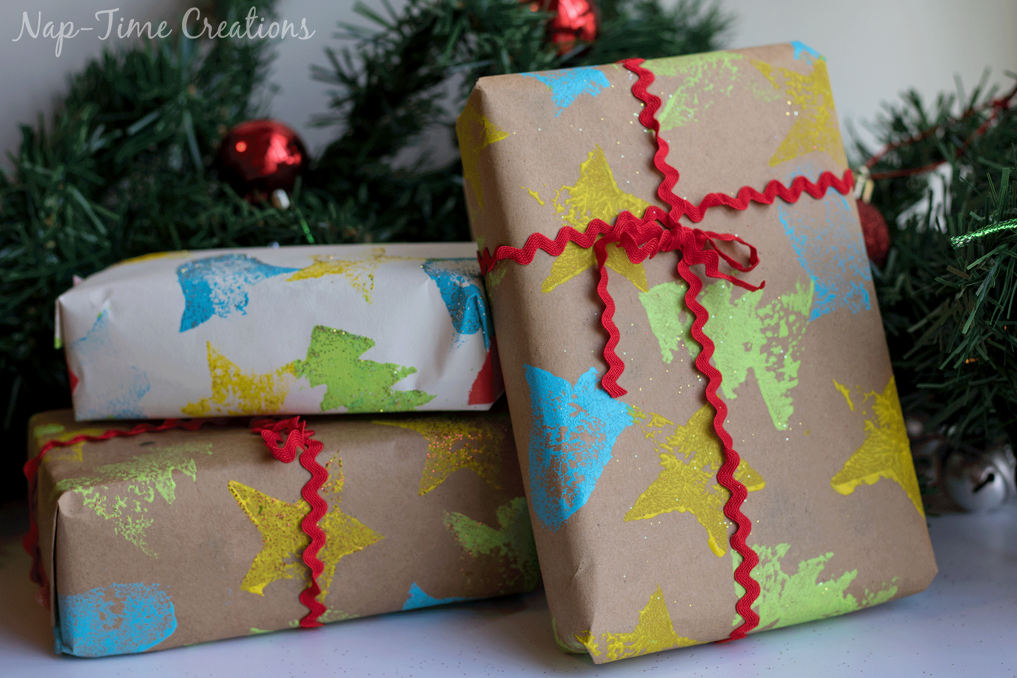 DIY felt Stamps and homemade wrapping paper