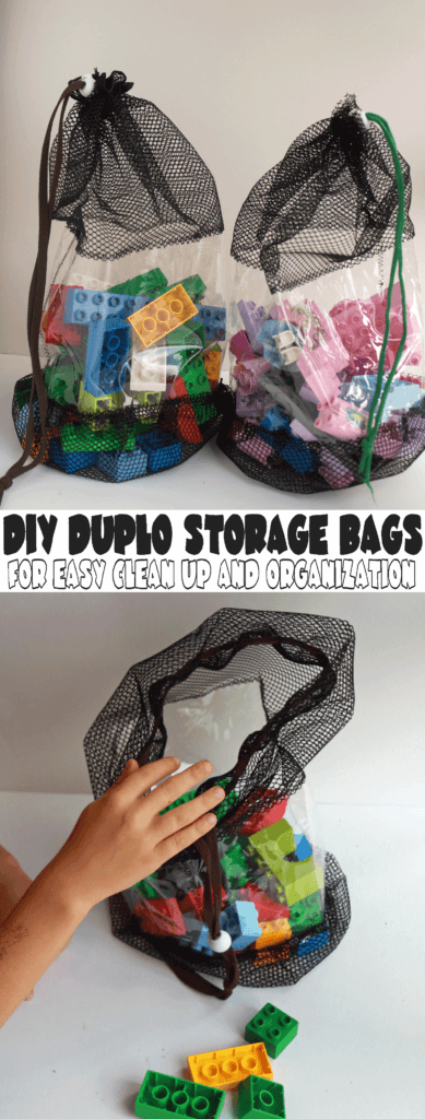 Easy DUPLO Organization and clean up DIY mesh bags from Nap-Time Creations
