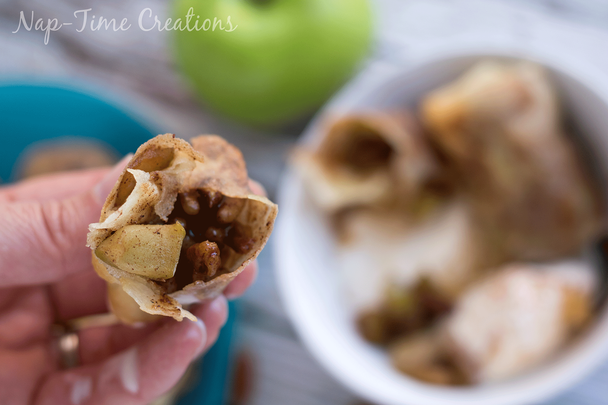 caramel apple egg rolls