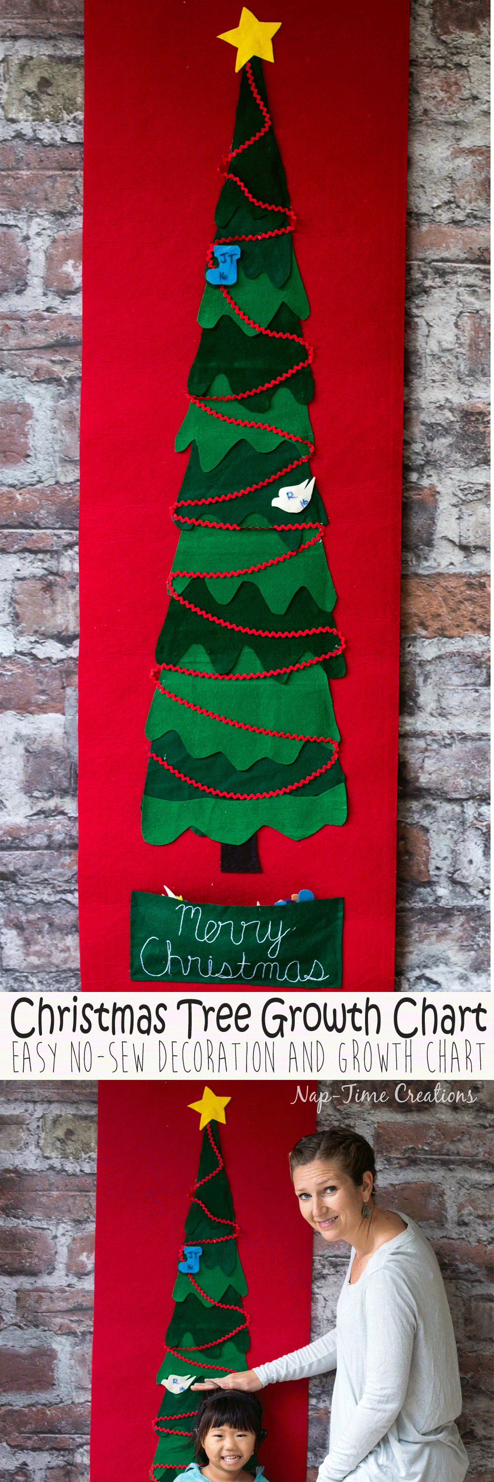Felt Christmas Tree Growth Chart Easy No Sew project with template from Nap-Time Creations