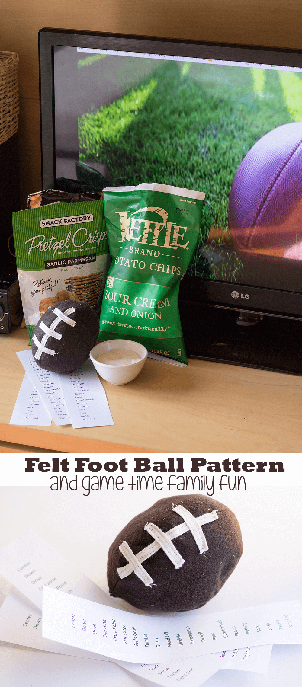 felt football pattern and-game-time-family-fun-by-Nap-Time-Creations #TheNewFanFavorites AD