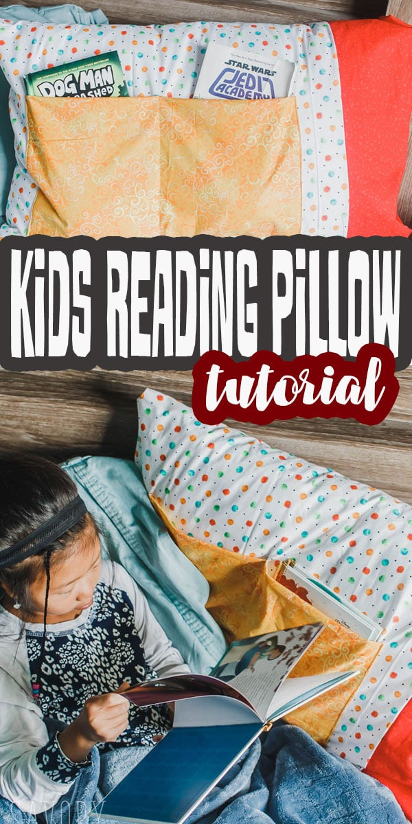 A fun and easy sewing tutorial to make a kids reading pillow. Keep bedtime calm with books and stories. Find out how to make a reading pillow.