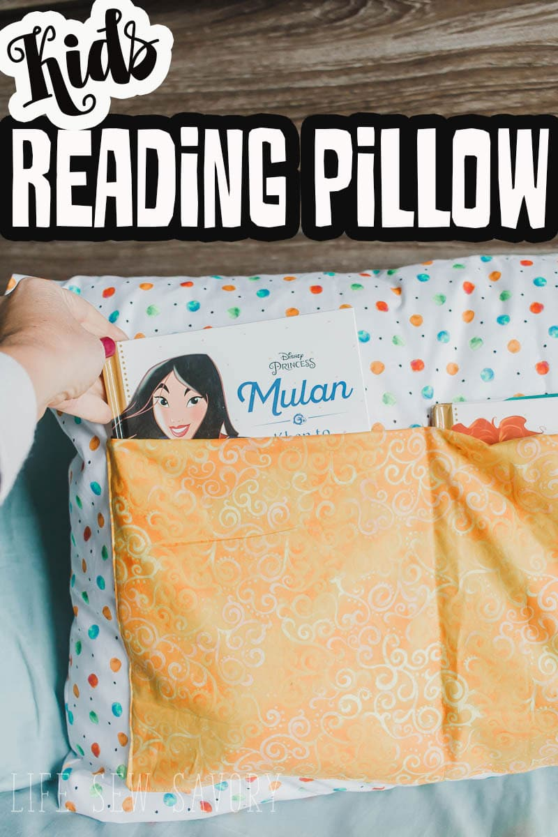 A fun and easy sewing tutorial to make a kids reading pillow. Keep bedtime calm with books and stories. Find out how to make a reading pillow.  via @lifesewsavory