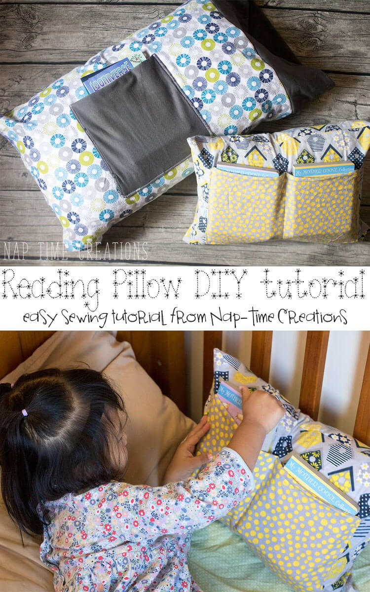 DIY reading pillow tutorial easy-sewing-tutorial-from-Nap-Time-Creations-#FirstBook-AD