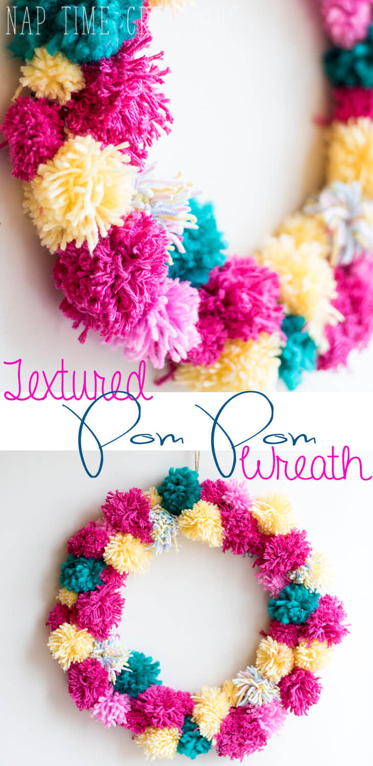 spring pom pom wreath easy DIY with yarn from Life Sew Savory