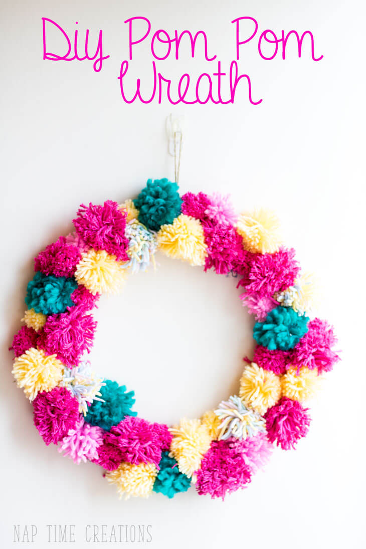 spring pom pom wreath easy DIY with yarn from Nap-Time Creations