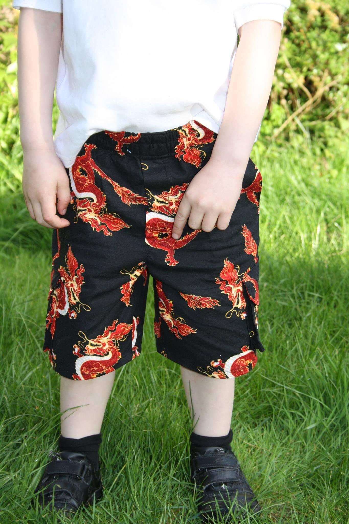 Boys cargo shorts pattern 12m - 8Y