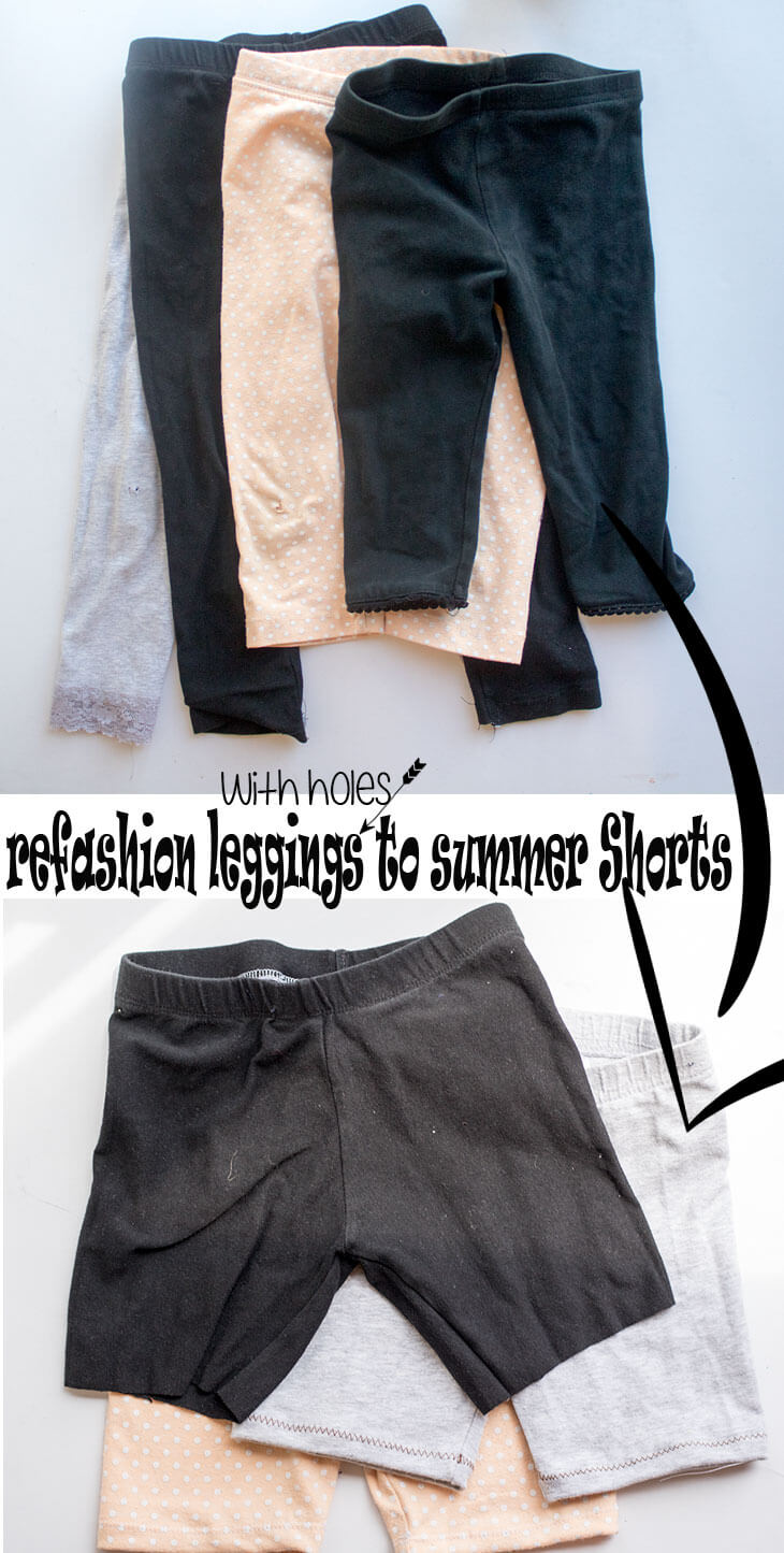 refashion leggings to summer shorts from Life Sew Savory