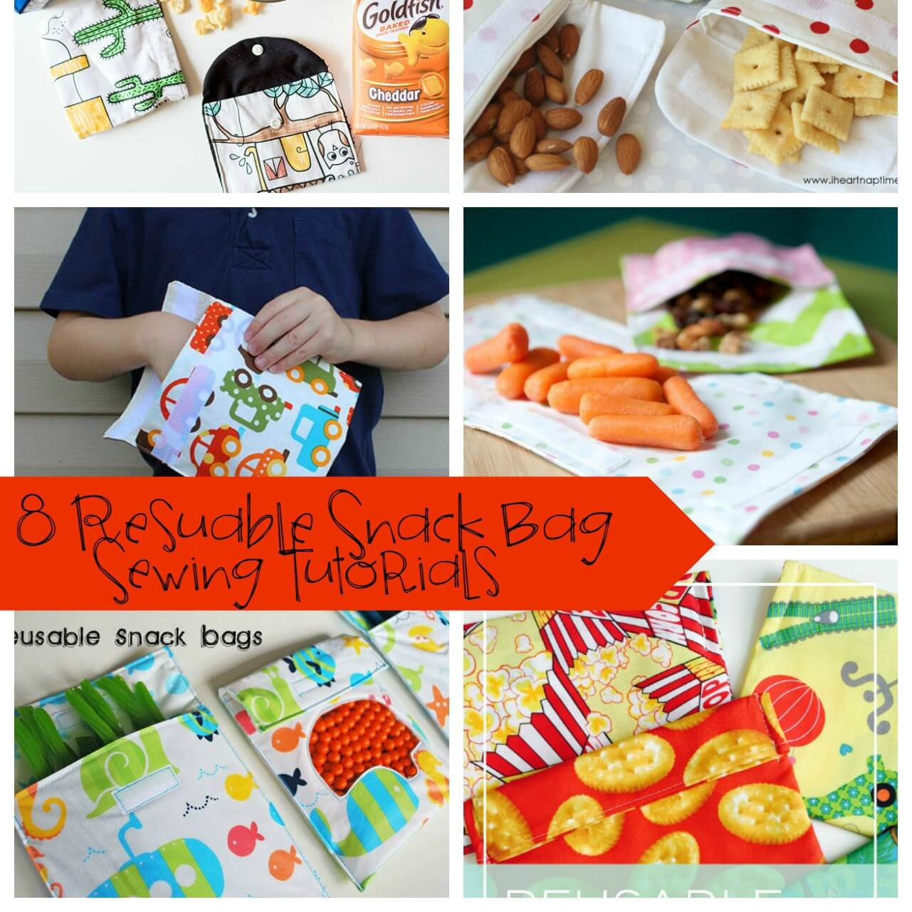 8 Reusable Snack Bag Tutorials for on the go snacking