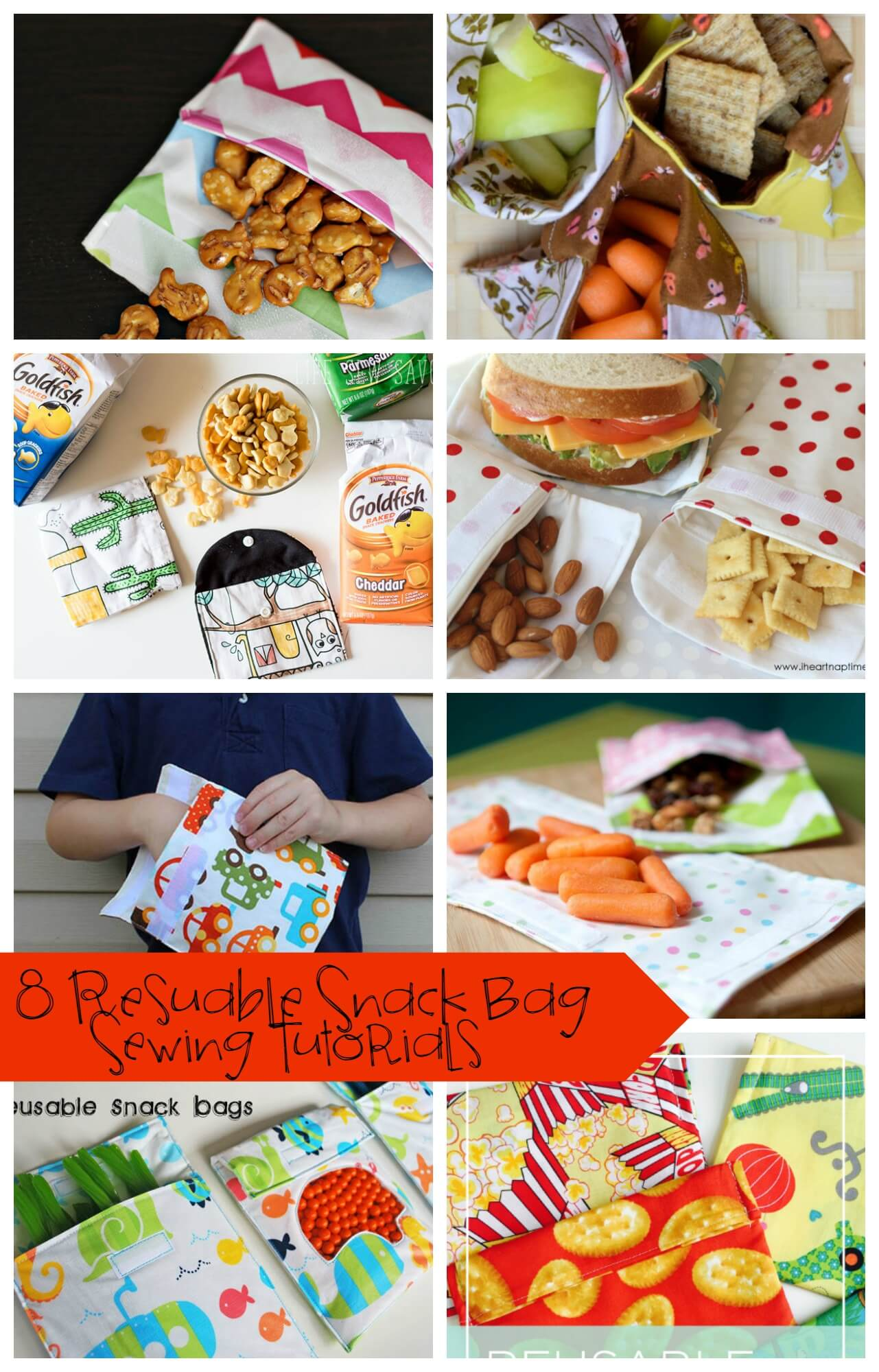 Reusable Snack Bag Tutorials from Life Sew Savory #GoldfishMoments AD