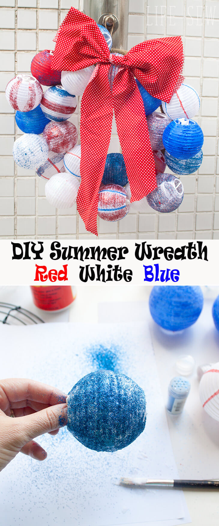 DIY summer wreath a red white and blue summer wreath by Life Sew Savory