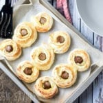 breakfast puff pastry with egg and sausage