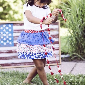 red white and blue ruffle skirt tutorial