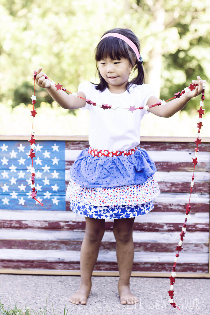 ruffle skirt tutorial red white and blue