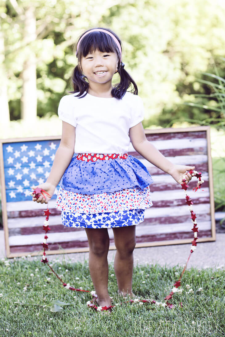 red white and blue ruffle skirt