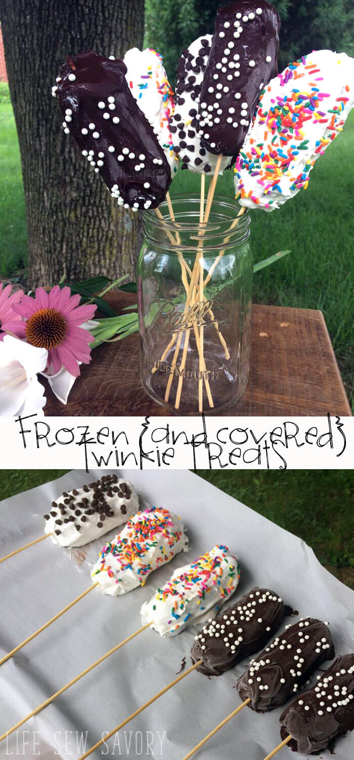 frozen Twinkie Dessert on a stick from Life Sew Savory