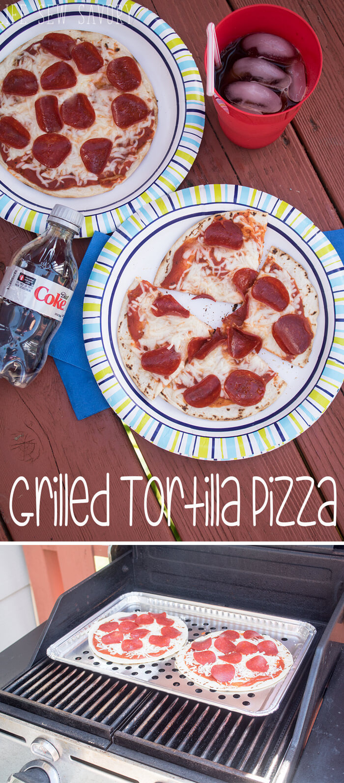 Grilled Tortilla Pizza for easy summer grilling from Life Sew Savory #ServeWithACoke {AD}