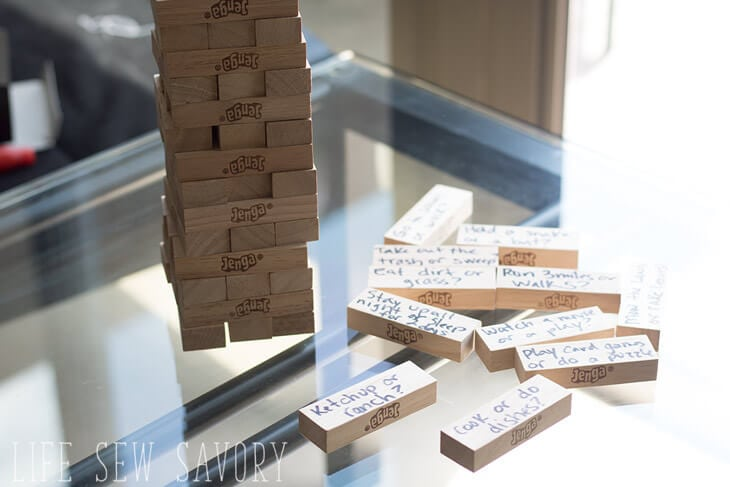would you rather with JENGA for family summer fun