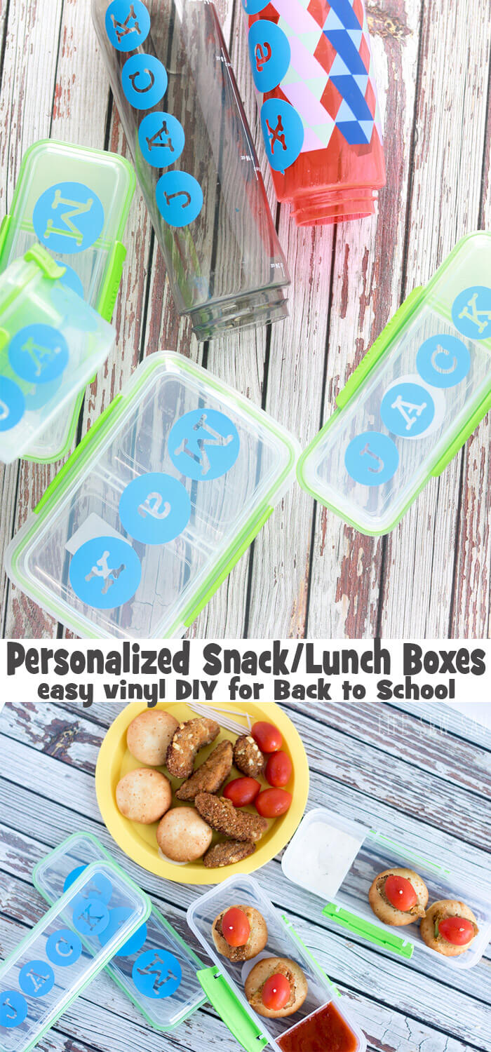 personalized lunch boxes and snack boxes with easy vinyl labels for back to school