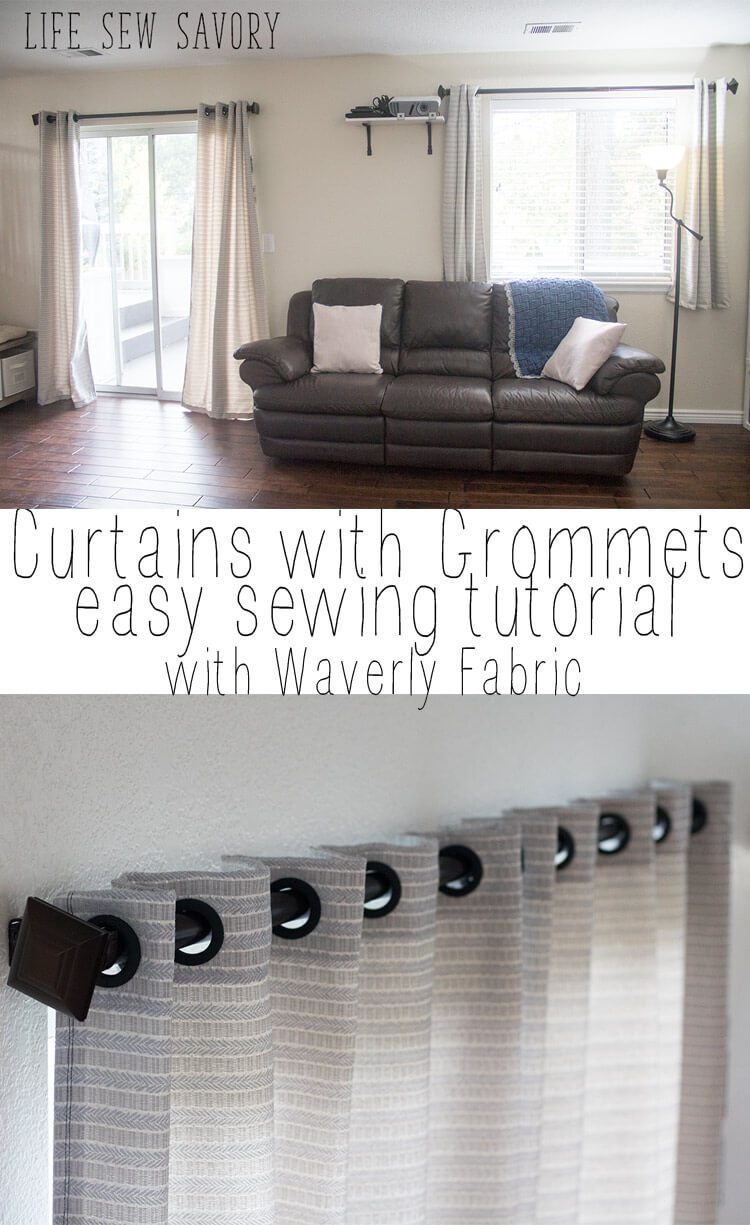 Curtains with Grommets tutorial sewing-with-waverly-fabric-from-Life-Sew-Savory
