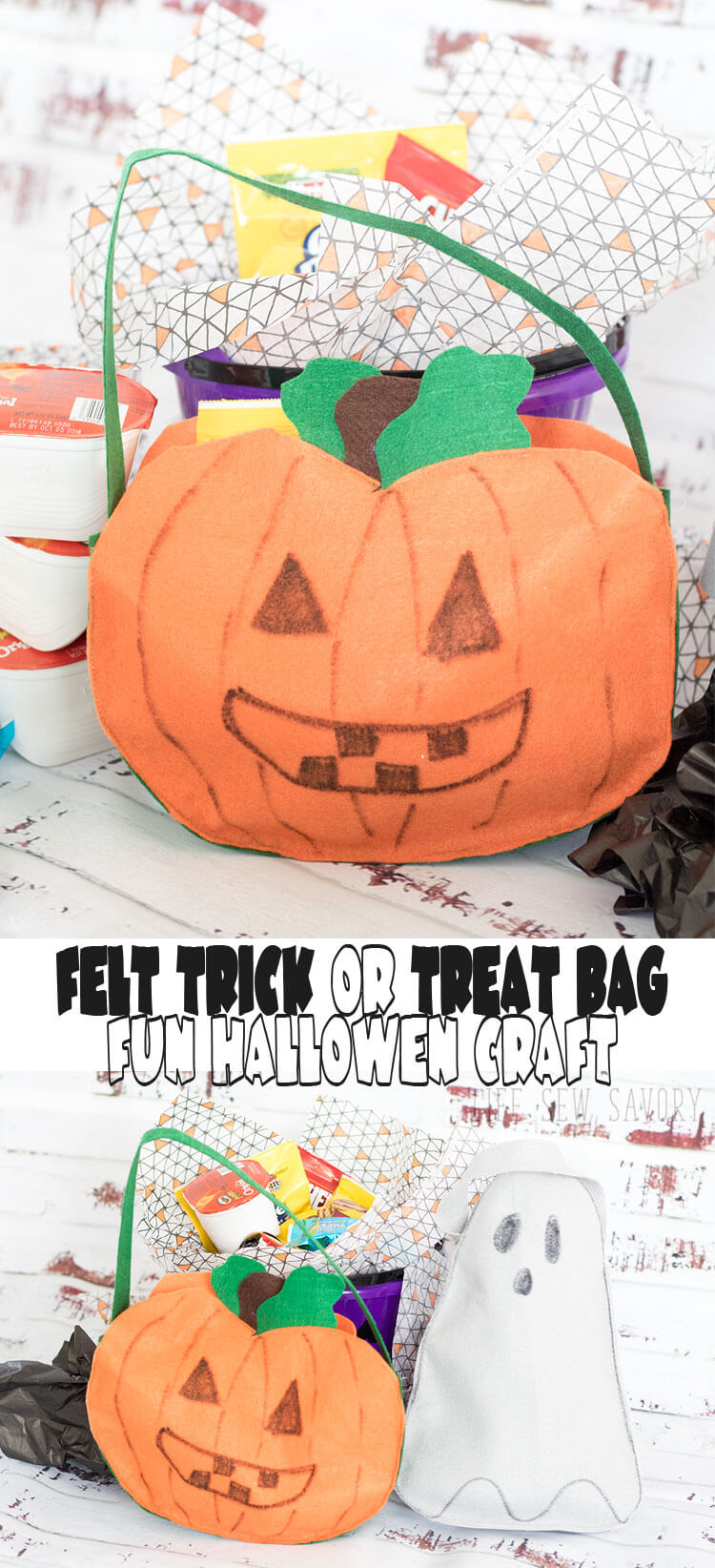 DIY Trick or Treat Bag with felt from Life Sew Savory #SnackItAndPackIt, #SeasonalSolutions AD