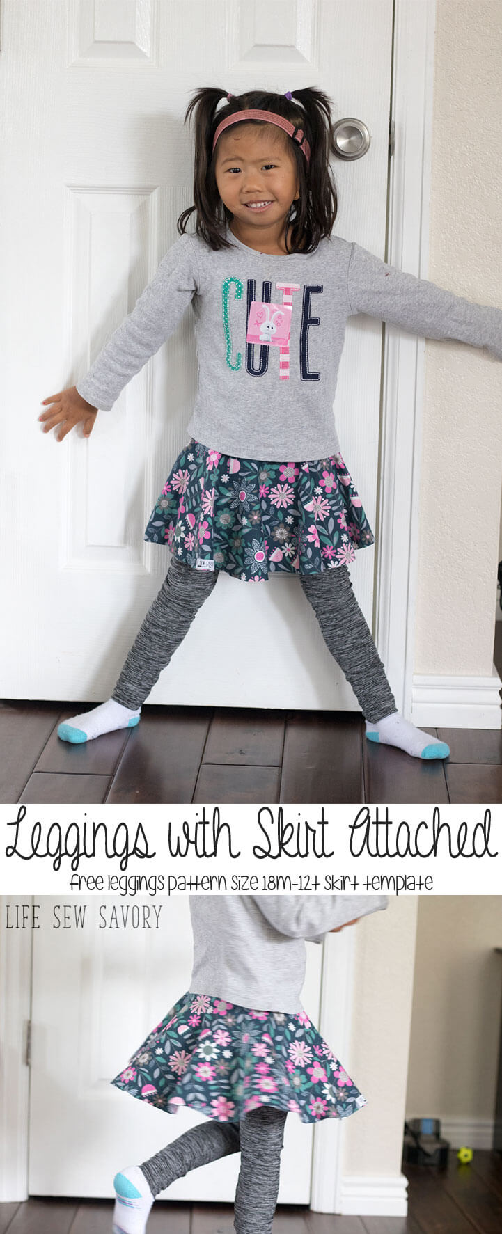 free leggings with skirt attached pattern and tutorial from Life Sew Savory