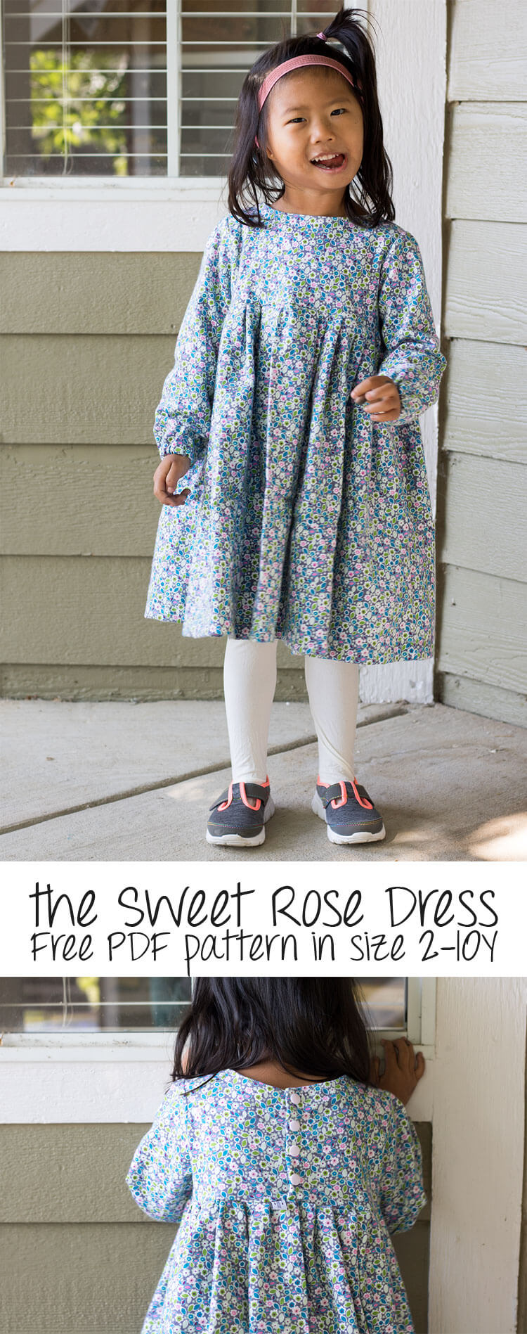 free dress pattern - sweet rose dress for girls size 2-10 from Life Sew Savory