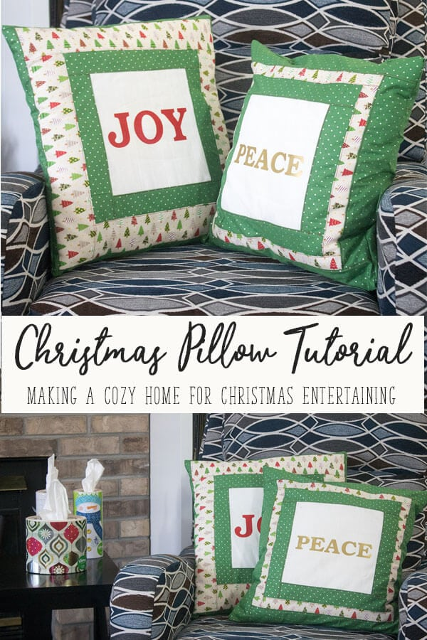 DIY Christmas Decorations - throw pillows with Kleenex for easy entertaining from Life Sew Savory {AD} @Kleenex