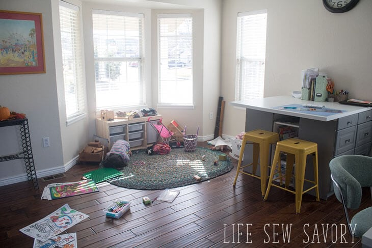 sewing room tour with play space